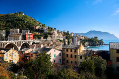 Hillside houses of Genoa Stock Photo