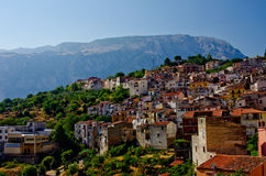 Hillside houses in Italian Village. Hillside houses in sicilian village of Isnello Royalty Free Stock Photography