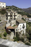 Hillside houses in old town Savoca. City of the Godfather film. Savoca is the beautiful town where the Godfather movie was filmed. Sicily, Italy Royalty Free Stock Image
