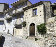 Hillside Houses in Savoca, Italy. Traditional Italian homes in old town Savoca, Italy. City of the Godfather film Royalty Free Stock Photos