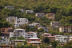 Hillside with houses in St.Thomas, VI. Royalty Free Stock Photography