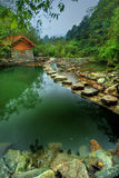 Hillside lake scene in Hubei Royalty Free Stock Photography