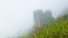 Hillside. Limestone rock in the clouds. Highlands Thailand Stock Images