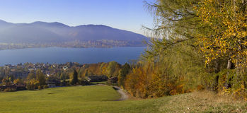Hillside lookout point with panoramic view to lake tegernsee, ba Stock Image