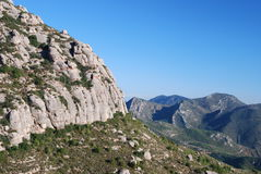 Hillside of Montserrat. View of a hillside of the Montserrat mountains, Catalonia, Spain Stock Photo