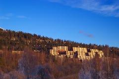 Hillside near Oslo, Norway. Rising slope of a tree-lined hillside in Holmenkollåsen, just outside of Oslo, Norway stock photo
