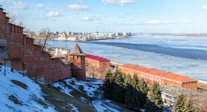 The hillside of Nizhny Novgorod Kremlin Stock Photography