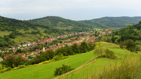 Hillside overlooking Copsa Mare, Transylvania, Romania Royalty Free Stock Photos