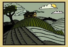 The Hillside - A retro woodcut printstyled picturesque illustration stock illustration