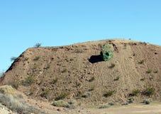 Green painted rock looks like alien head royalty free stock image