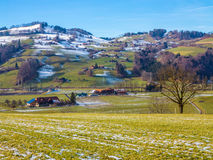 Hillside small town. And fields in winter, Switzerland Stock Image