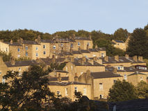 Hillside terraced houses in West Yorkshire Stock Images