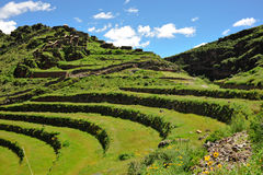 Hillside terraces in Urubamba Valley, Peru. South America royalty free stock photography