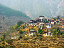 Hillside town in Bhutan Royalty Free Stock Images