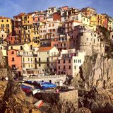 Hillside Town in Italy. Manarola in the Cinque Terre National Park. Each town is difficult to get to, hiking trails connect all 5 towns for exceptional views and stock image