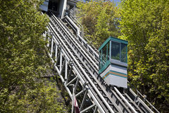 Hillside Tram. A small tram used by pedestrians slowly moving down the hillside in Quebec city royalty free stock image