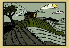 Hillside - un retro intaglio in legno printstyled l'illustrazione pittoresca illustrazione di stock