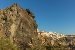 Hillside view from the cable car with sunset, Santorini, Greece. Europe Royalty Free Stock Photography
