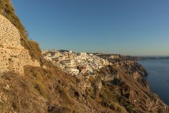 Hillside view from the cable car with sunset, Santorini, Greece. Europe Stock Photography