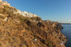 Hillside view from the cable car with sunset, Santorini, Greece. Europe Royalty Free Stock Image