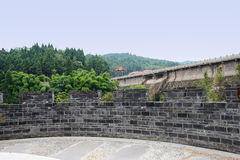 Hillside viewing platform with grey brick parapet near dam Royalty Free Stock Photos