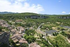 Hillside village lavender fields provence france Royalty Free Stock Image