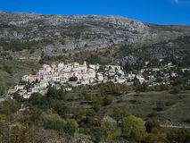 Hillside village in the south of France royalty free stock image
