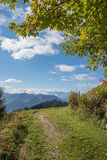 Hillside walkway at grisons, swiss landscape. Hillside walkway at grisons, pictorial swiss landscape Royalty Free Stock Photo
