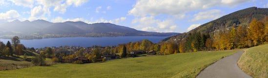 Hillside walkway with panoramic view to lake tegernsee, bavaria Stock Photo