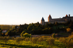 Hillside and walls fortified city of Carcassonne Royalty Free Stock Photo