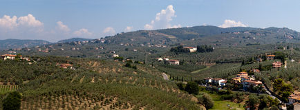 Hillside where Da Vince was borne. Panoramic view of the hillside near Vinci in Tuscany where the house that Leonardo da Vinci was borne in is located Stock Image