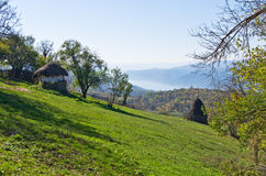 Hillsides on a Miroc mountain over Danube river and Djerdap gorge and national park Stock Photos