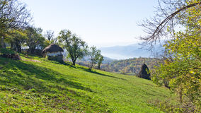 Hillsides of a Miroc mountain over Danube river and Djerdap gorge and national park Royalty Free Stock Photo