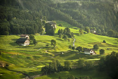 Hillsides at sunset. Green hills lit by the sun royalty free stock image