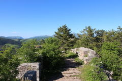 Hilltop above Basilica of St Ubaldo in Gubbio in Umbria Royalty Free Stock Images