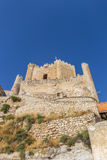 Hilltop castle of historic village Alcala del Jucar Royalty Free Stock Images