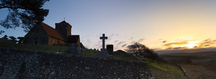 Hilltop Church Dawn Landscape Royalty Free Stock Image