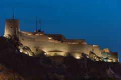 Hilltop Fortress at Night in Oman stock images