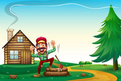 A hilltop with a happy lumberjack cheering Stock Image