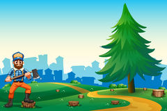 A hilltop with a hardworking woodman holding an axe. Illustration of a hilltop with a hardworking woodman holding an axe vector illustration