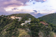 Hilltop houses on the island of Antigua. At sunrise Stock Image