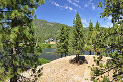 Hilltop lake view Royalty Free Stock Images