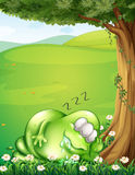 A hilltop with a monster sleeping under the tree Royalty Free Stock Photo