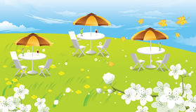 Hilltop Picnic, illustration Royalty Free Stock Image