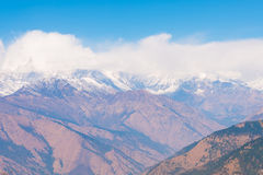 Hilltop of snow mountain view on the way to Annapurna base camp Stock Photos