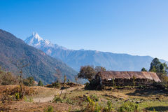 Hilltop of snow mountain view on the way to Annapurna base camp Royalty Free Stock Image