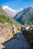 Hilltop of snow mountain view on the way to Annapurna base camp Royalty Free Stock Images