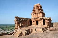 Hilltop Temple. Upper Shivalaya on the top of northern rocky hill in Badami, Karnataka, India, Asia Stock Image