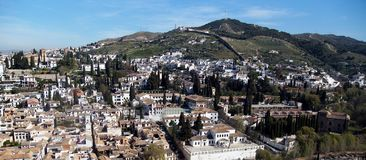 Hilltop view of Granada Spain. Against a summer blue sky stock images