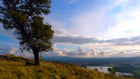 Hilltop view onto vast green and lake. Hilltop tree and rock on green yellow grass oerlooking flat valley with beautiful lake and blue sky of clouds Royalty Free Stock Photos